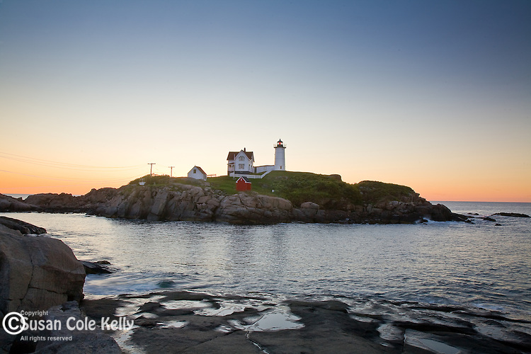 Cape Neddick (Nubble) Light at sunrise, York, ME, USA