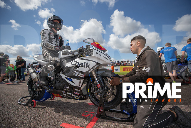 Tim Neave of the Neave Twins team (No. 14) competing in the Pirelli National Superstock 600 Championship prepares on the grid at the 2017 MCE Insurance British Superbikes Championship Round 7 at Thruxton Circuit, Andover, England on 6 August 2017. Photo by David Horn/PRiME Media Images