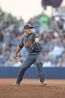 Craig Schlitter (9) of the Boise Hawks pitches during a game against the Hillsboro Hops at Ron Tonkin Field on August 22, 2015 in Hillsboro, Oregon. Boise defeated Hillsboro, 6-4. (Larry Goren/Four Seam Images)