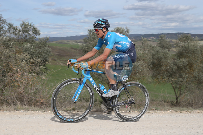 Eduard Prades Reverter (ESP) Movistar Team on sector 8 Monte Santa Maria during Strade Bianche 2019 running 184km from Siena to Siena, held over the white gravel roads of Tuscany, Italy. 9th March 2019.<br /> Picture: Eoin Clarke | Cyclefile<br /> <br /> <br /> All photos usage must carry mandatory copyright credit (© Cyclefile | Eoin Clarke)