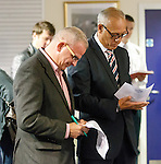 """Iain King of Airdrie and Mark Hateley of Rangers thinking """"surely not"""" as the draw pairs them together"""