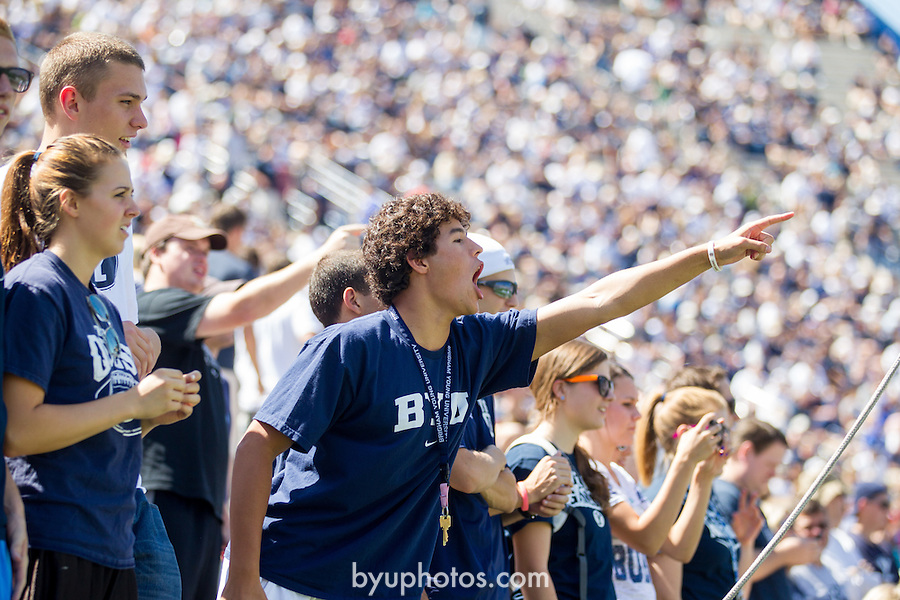 12FTB vs Weber State 4702<br /> <br /> 12FTB vs Weber State, Fans cheering, Shouting, School Spirit, Football field, LVES Lavell Edwards Stadium.<br />  <br /> BYU-45<br /> Weber ST-13<br /> <br /> Photo by Jonathan Hardy/BYU<br /> <br /> September 8, 2012<br /> <br /> &copy; BYU PHOTO 2012<br /> All Rights Reserved<br /> photo@byu.edu  (801)422-7322