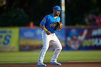 Myrtle Beach Pelicans third baseman Cam Balego (22) on defense against the Winston-Salem Dash at TicketReturn.com Field on May 16, 2019 in Myrtle Beach, South Carolina. The Dash defeated the Pelicans 6-0. (Brian Westerholt/Four Seam Images)