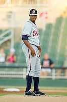 Rome Braves starting pitcher Mauricio Cabrera (22) in action against the Kannapolis Intimidators at CMC-Northeast Stadium on August 24, 2013 in Kannapolis, North Carolina.  The Intimidators defeated the Braves 6-1.  (Brian Westerholt/Four Seam Images)