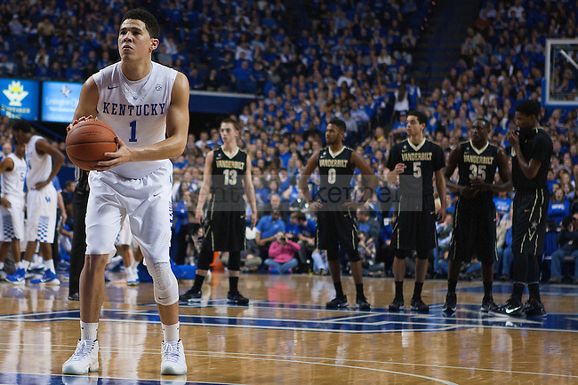 Guard Devin Booker of the Kentucky Wildcats shoots an uncontested free throw after Riley LaChance committed the flagrant foul during the first half of the game against the Vanderbilt Commodores at Rupp Arena on January 20, 2015 in Lexington, Kentucky. Kentucky defeated Vanderbilt 65-57. Photo by Taylor Pence