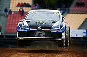 14th April 2018, Circuit de Barcelona-Catalunya, Barcelona, Spain; FIA World Rallycross Championship; Johan Kristoffersson of the PSRX Volkswagen Sweden Team in action during the morning World Rallycross free practice