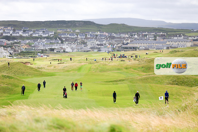 Crowds on the fairways during the last 16 of the South of Ireland from Lahinch golf club, Lahinch, Co. Clare, Ireland. <br /> Picture: Fran Caffrey / Golffile