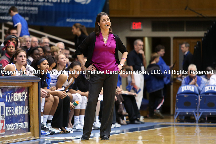27 January 2013: Duke head coach Joanne P. McCallie reacts to a call against Duke. The Duke University Blue Devils played the Boston College Eagles at Cameron Indoor Stadium in Durham, North Carolina in an NCAA Division I Women's Basketball game. Duke won the game 80-56.