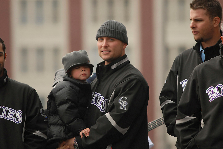 Matt Holliday holds his son Jackson (about 2 1/2 years old) during an event held in downtown Denver to celebrate the Rockies' 2007 season.
