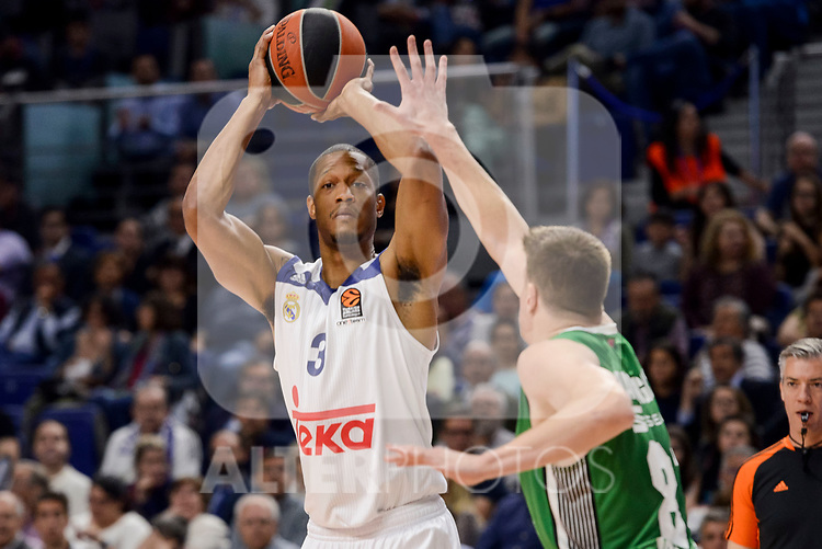 Real Madrid's Anthony Randolph and Darussafaka Dogus's Birkan Batuk during quarter final of Turkish Airlines Euroleague match between Real Madrid and Darussafaka Dogus at Wizink Center in Madrid, April 20, 2017. Spain.<br /> (ALTERPHOTOS/BorjaB.Hojas)