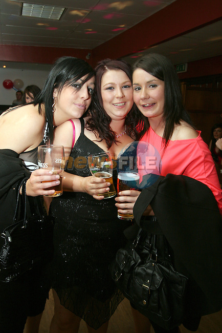 Roisin Brady, Stacey Garvey and Sarah Everitt at David Byrne's 21st in the Rugby Club...Photo NEWSFILE/Jenny Matthews.(Photo credit should read Jenny Matthews/NEWSFILE)....This Picture has been sent you under the condtions enclosed by:.Newsfile Ltd..The Studio,.Millmount Abbey,.Drogheda,.Co Meath..Ireland..Tel: +353(0)41-9871240.Fax: +353(0)41-9871260.GSM: +353(0)86-2500958.email: pictures@newsfile.ie.www.newsfile.ie.FTP: 193.120.102.198.