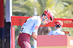 Willem Jakobus Smit (RSA) Katusha Alpecin arrives at sign on before the start of Stage 2 of La Vuelta 2019 running 199.6km from Benidorm to Calpe, Spain. 25th August 2019.<br /> Picture: Eoin Clarke | Cyclefile<br /> <br /> All photos usage must carry mandatory copyright credit (© Cyclefile | Eoin Clarke)