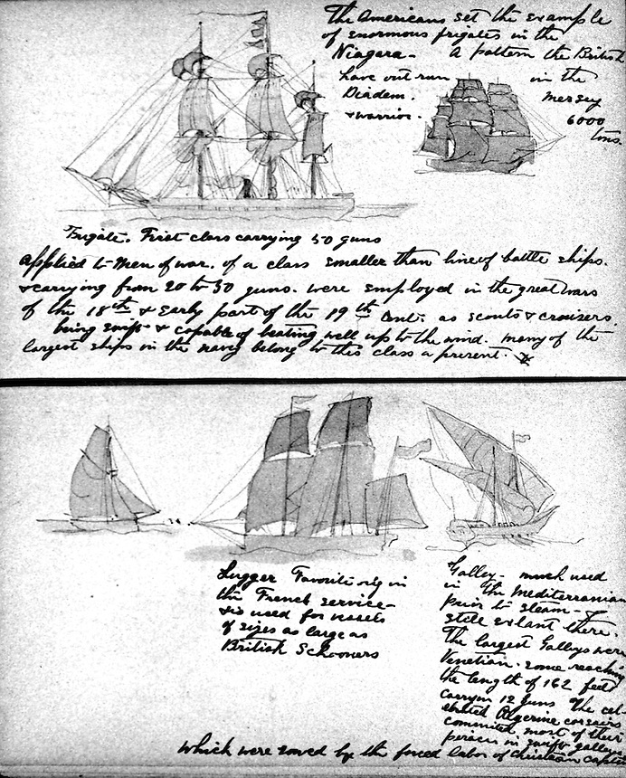 Title: Sketches of ships, sails, and rigging with handwritten notes<br />