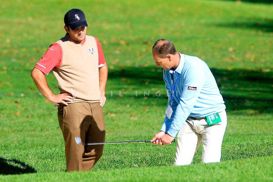 Francesco Molinari of Team Europe with Mark Roe  during practice thursday of the 39th Ryder Cup matches, Medinah Country Club, Chicago, Illinois, USA.  28-30 September 2012 (Picture Credit / Phil Inglis)