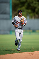 Detroit Tigers Derek Hill (31) jogs to the dugout during an Instructional League game against the Atlanta Braves on October 10, 2017 at the ESPN Wide World of Sports Complex in Orlando, Florida.  (Mike Janes/Four Seam Images)