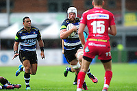 Dave Attwood of Bath Rugby in possession. Pre-season friendly match, between the Scarlets and Bath Rugby on August 20, 2016 at Eirias Park in Colwyn Bay, Wales. Photo by: Patrick Khachfe / Onside Images