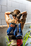 USA, Oahu, Hawaii, portrait of professional boxer Mike Balasi in a Honolulu gym after his training and sparring session