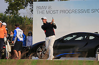 Romain Wattel (FRA) tees off the par3 17th tee during Sunday's Final Round of the 2014 BMW Masters held at Lake Malaren, Shanghai, China. 2nd November 2014.<br /> Picture: Eoin Clarke www.golffile.ie