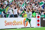 Stockholm 2014-05-24 Fotboll Superettan Hammarby IF - Varbergs BoIS FC  :  <br /> Hammarbys Pablo Pinones-Arce har gjort 2-0 och jublar framf&ouml;r Hammarbys supportrar<br /> (Foto: Kenta J&ouml;nsson) Nyckelord:  Superettan Tele2 Arena HIF Bajen Varberg BoIS jubel gl&auml;dje lycka glad happy