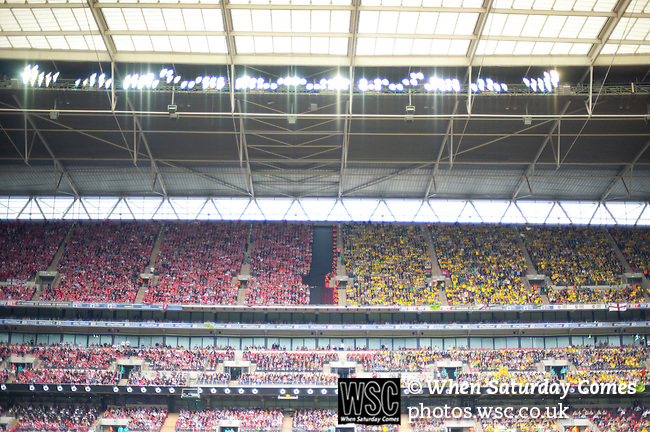 Norwich City 2 Middlesbrough 0, 25/05/2015. Wembley Stadium, Championship Play Off Final. Middlesbrough supporters in the west side and Norwich supporters in the east side of Wembley stadium. A match worth £120m to the victors. On the day Norwich City secured an instant return to the Premier League with victory over Middlesbrough in front of 85,656. Photo by Simon Gill.
