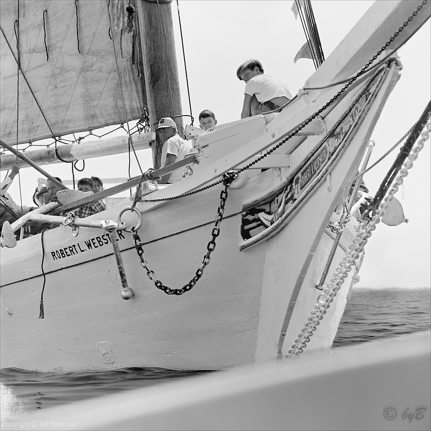"The whole family aboard Chesapeake Skipjack Rober L Webster in this Fine Art Limited Edition Skipjack print from the ""Skipjack Sunday"" collection."
