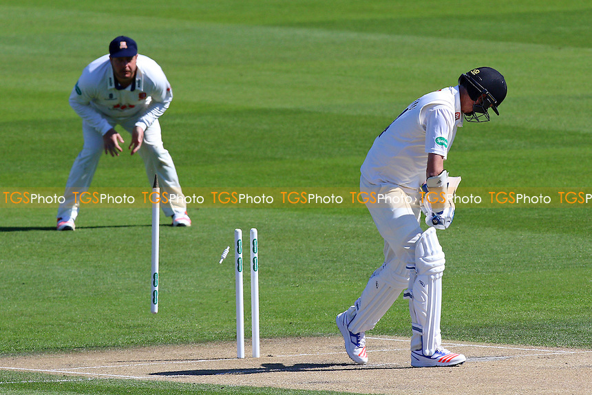 Steve Magoffin of Sussex is bowled out by Jamie Porter during Sussex CCC vs Essex CCC, Specsavers County Championship Division 2 Cricket at The 1st Central County Ground on 18th April 2016