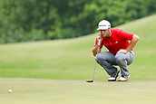 28th May 2017, Fort Worth, Texas, USA; Jon Rahm lines up his birdie putt on #8 during the final round of the PGA Dean & Deluca Invitational at Colonial Country Club in Fort Worth, TX.