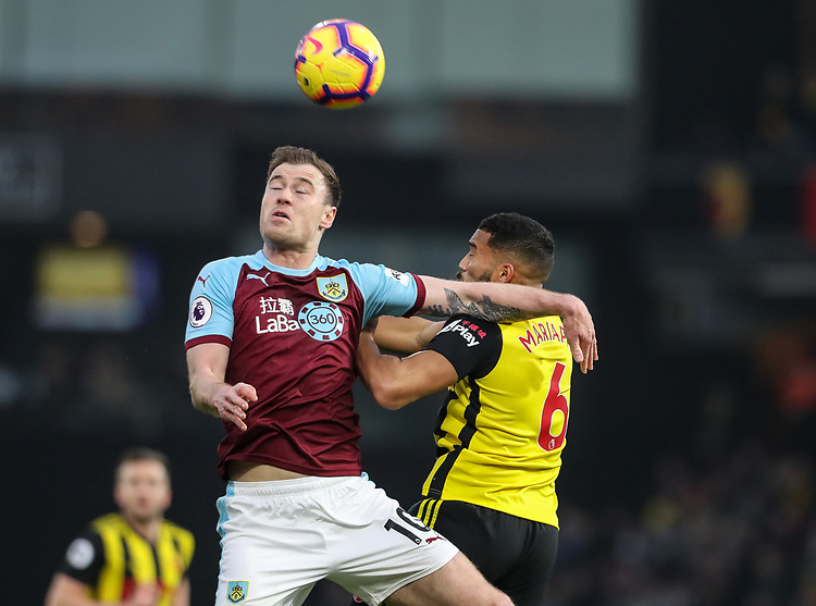 Burnley's Ashley Barnes competing with Watford's Adrian Mariappa<br /> <br /> Photographer Andrew Kearns/CameraSport<br /> <br /> The Premier League - Watford v Burnley - Saturday 19 January 2019 - Vicarage Road - Watford<br /> <br /> World Copyright © 2019 CameraSport. All rights reserved. 43 Linden Ave. Countesthorpe. Leicester. England. LE8 5PG - Tel: +44 (0) 116 277 4147 - admin@camerasport.com - www.camerasport.com