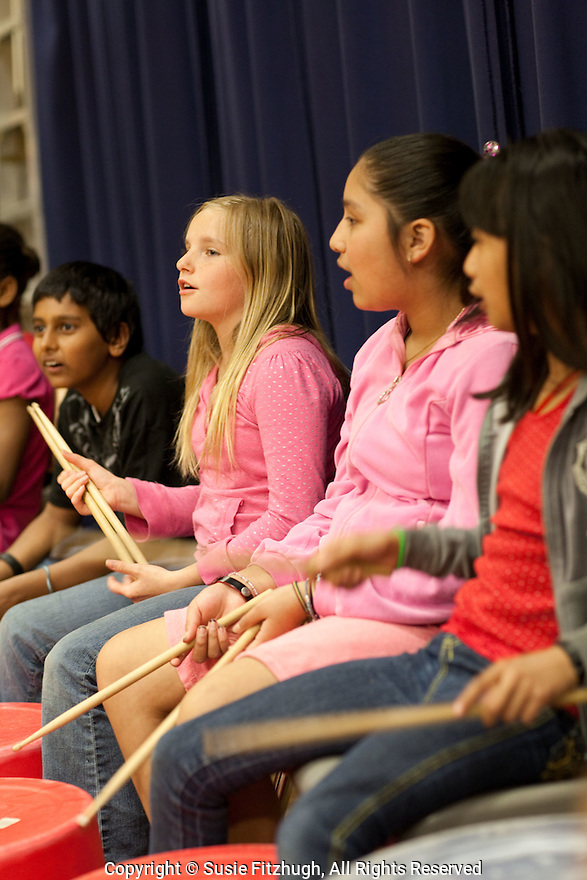 Elementary school students in Eduardo Mendonca's Brazilian Rhythms class at Northgate WS in Seattle.