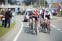 Lars Bak (DEN/Lotto-Soudal) drinking while away with the breakaway group<br /> <br /> 99th Ronde van Vlaanderen 2015