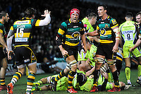 Christian Day of Northampton Saints celebrates as his side win a penalty. Aviva Premiership match, between Northampton Saints and Sale Sharks on December 23, 2016 at Franklin's Gardens in Northampton, England. Photo by: Patrick Khachfe / JMP