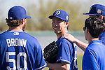 (L-R) Brooks Brown, Kenta Maeda (Dodgers),<br /> FEBRUARY 26, 2016 - MLB :<br /> Los Angeles Dodgers spring training baseball camp at Camelback Ranch in Glendale, Arizona, United States. (Photo by Thomas Anderson/AFLO) (JAPANESE NEWSPAPER OUT)