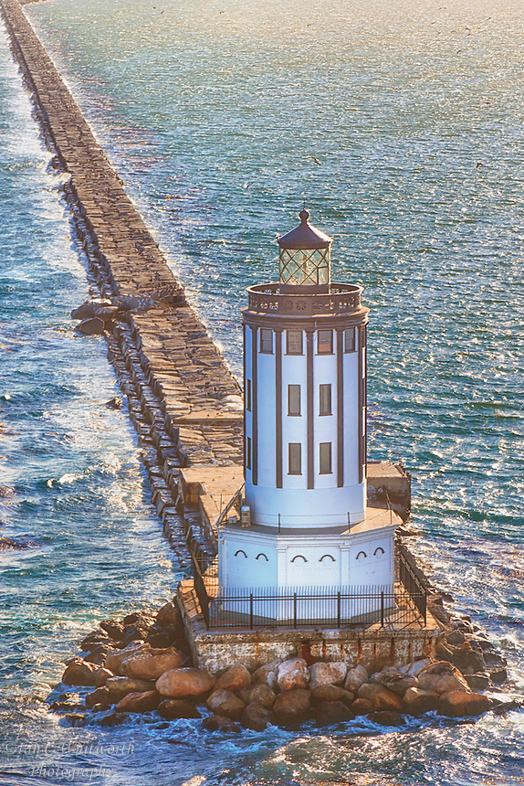 A photo art view of the Port of LA lighthouse in California.