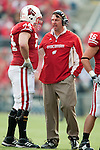 November 14, 2009: Wisconsin Badgers head coach Bret Bielema talks to offensive lineman John Moffitt (74) during an NCAA football game against the Michigan Wolverines at Camp Randall Stadium on November 14, 2009 in Madison, Wisconsin. The Badgers won 45-24. (Photo by David Stluka)