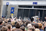 Protesters smash  the windows of RBS  bank<br /> G20 meltdown protest outside the Bank of England. Thousands of protesters marched on the city of London during the G20 conference meeting  in London April 2009 , RBS  Bank windows were smashed on the ground floor. Police made around 90 arrests.