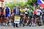 Mayor Geisel with Marcel Kittel (GER) Quick-Step Floors, race leader Yellow Jersey Geraint Thomas (WAL), Green Jersey Vasil Kiryienka (BLR) and Chris Froome (GBR) Team Sky lined up for the ceremonial start of Stage 2 of the 104th edition of the Tour de France 2017, running 203.5km from Dusseldorf, Germany to Liege, Belgium. 2nd July 2017.<br /> Picture: Eoin Clarke | Cyclefile<br /> <br /> <br /> All photos usage must carry mandatory copyright credit (&copy; Cyclefile | Eoin Clarke)