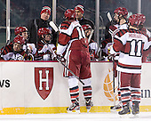 Alex Killorn (Harvard - 19), Colin Moore (Harvard - 12), Colin Blackwell (Harvard - 63), Ted Donato (Harvard - Head Coach), Peter Starrett (Harvard - 14), Jerry Forton (Harvard - Assistant Coach), Petr Placek (Harvard - 27), David Valek (Harvard - 22), Daniel Moriarty (Harvard - 11) - The Union College Dutchmen defeated the Harvard University Crimson 2-0 on Friday, January 13, 2011, at Fenway Park in Boston, Massachusetts.