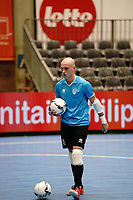 20191010 - HALLE: Halle-Gooik's third GK Van Beeck  is pictured during the warm up before the UEFA Futsal Champions League Main Round match between FP Halle-Gooik (BEL) and Kherson (UKR) on1 0th October 2019 at De Bres Sportcomplex, Halle, Belgium. PHOTO SPORTPIX | SEVIL OKTEM