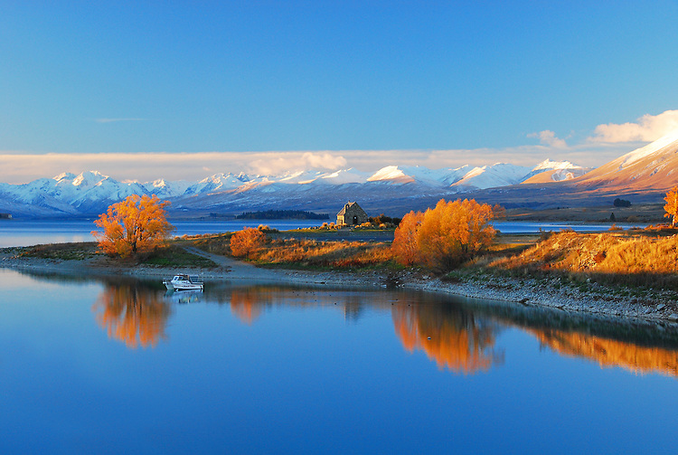 Sunset at the Church of the Good Shepherd at Lake Tekapo McKenzie Country, South Island