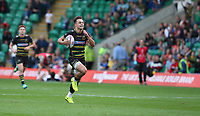 Northampton Saints's Tom Collins breaks clear in his own half and scores his side's first try<br /> <br /> Photographer Stephen White/CameraSport<br /> <br /> European Rugby Challenge Cup - Northampton Saints v Clermont Auvergne - Saturday 13th October 2018 - Franklin's Gardens - Northampton<br /> <br /> World Copyright © 2018 CameraSport. All rights reserved. 43 Linden Ave. Countesthorpe. Leicester. England. LE8 5PG - Tel: +44 (0) 116 277 4147 - admin@camerasport.com - www.camerasport.com