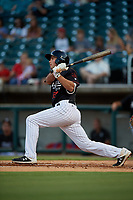 Birmingham Barons Damek Tomscha (27) at bat during a Southern League game against the Chattanooga Lookouts on July 24, 2019 at Regions Field in Birmingham, Alabama.  Chattanooga defeated Birmingham 9-1.  (Mike Janes/Four Seam Images)