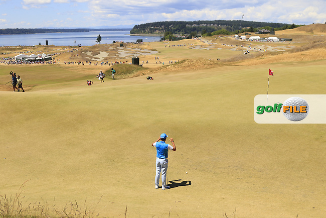 Rickie FOWLER (USA) lines up his putt on the 7th green during Friday's Round 2 of the 2015 U.S. Open 115th National Championship held at Chambers Bay, Seattle, Washington, USA. 6/19/2015.<br /> Picture: Golffile | Eoin Clarke<br /> <br /> <br /> <br /> <br /> All photo usage must carry mandatory copyright credit (&copy; Golffile | Eoin Clarke)