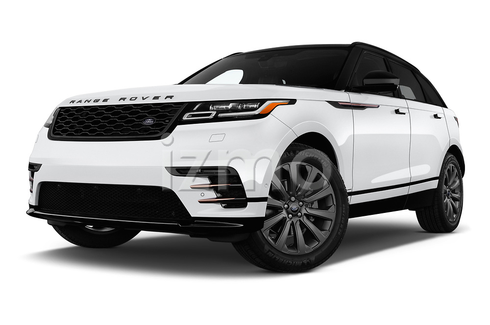 Stock pictures of low aggressive front three quarter view of a 2018 Land Rover Range Rover Velar R-Dynamic SE 5 Door SUV