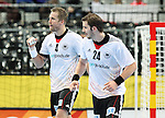 20.01.2013 Barcelona, Spain. IHF men's world championship, eighth.final. Picture show Oliver Roggisch and Michael Haass in action during game between Germany  vs FYRO Macedonia at Palau st Jordi