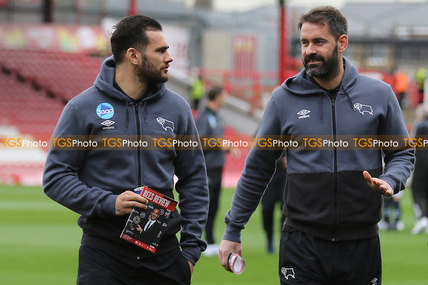 Derby's Bradley Johnson chats with Scott Carson on the pitch pre-match during Brentford vs Derby County, Sky Bet EFL Championship Football at Griffin Park on 14th April 2017