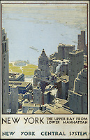 BNPS.co.uk (01202 558833)<br /> Pic: SwannGalleries/BNPS<br /> <br /> ***Please Use Full Byline***<br /> <br /> 1935 poster of New York - &pound;10,000.<br /> <br /> Beautiful posters from the halcyon days of travel up for auction.<br /> <br /> Scarce vintage travel posters promoting holidays across the globe in the 1920's and 30's are tipped to sell for over &pound;200,000 .<br /> <br /> The fine collection of 200 works of art that hark back to the halcyon days of train and boat travel have been brought together for sale.<br /> <br /> The posters were used to advertise dream holiday destinations in far-flung places such as the US and Australia and to celebrate the luxurious ways of getting to them.<br /> <br /> Most of the advertising posters date back to the 1930s and are Art Deco in style and they are all from the original print-run.