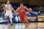 28 November 2014: Stony Brook's Kori Bayne-Walker (5) and Duke's Rebecca Greenwell (23). The Duke University Blue Devils hosted the Stony Brook University Seahawks at Cameron Indoor Stadium in Durham, North Carolina in a 2014-15 NCAA Division I Women's Basketball game. Duke won the game 72-42.