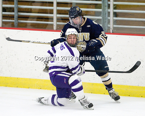 John Williams (Curry - 8), Erick Vos (Johnson & Wales - 25) - The Curry College Colonels defeated the Johnson & Wales University Wildcats 5-4 on Curry's senior night on Saturday, February 18, 2012, at Max Ulin Rink in Milton, Massachusetts.