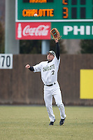 Charlotte 49ers right fielder Brad Elwood (2) catches a fly ball during the game against the Akron Zips at Hayes Stadium on February 22, 2015 in Charlotte, North Carolina.  The Zips defeated the 49ers 5-4.  (Brian Westerholt/Four Seam Images)