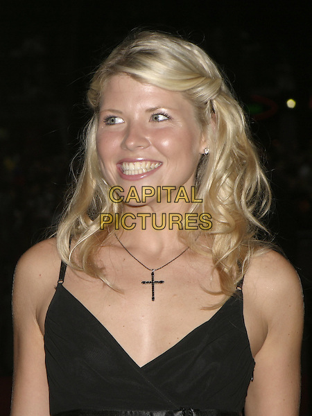 "VANESSA (BIG BROTHER 5).UK Premiere of ""The Chronicles of Riddick: Pitch Black 2"", Vue Cinema, London,.9th August 2004..portrait headshot black vest top cross necklace.Ref: AH.www.capitalpictures.com.sales@capitalpictures.com.©Capital Pictures."